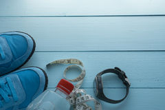 Running sport eqipment and water bottle Stock Photography