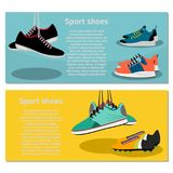 Running sport shoes flyers. Running sport shoes flyer horizontal concept, vector illustration Stock Photography