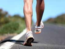 Running sport shoes on runner Stock Photo