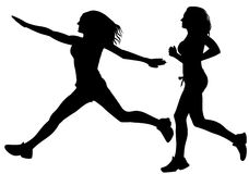 Running sport woman silhouette vector Stock Photo