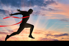 Running sports. Man runner. And red tape Royalty Free Stock Photo
