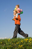 Running on the spring field Royalty Free Stock Photo