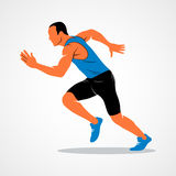 Running, sprinter, athlete. Runners on short distances sprinter on a white background. Photo illustration Royalty Free Stock Image