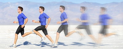 Running and sprinting man in motion at great speed. Running and sprinting man at great speed. Composite of male athlete runner sprinting fast on run in beautiful Royalty Free Stock Image