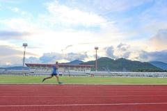 Running in the stadium Stock Images