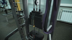 Running standing trainer in the gym stock video footage