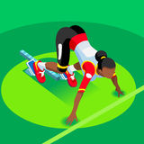 Running Starting Blocks 2016 Summer Games 3D Flat Vector Image. Sprinter Runner Athlete at Starting Line Athletics Race Start Summer Games Icon Set.3D Flat Royalty Free Stock Photos