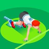 Running Starting Line Kids Marathon 3D Isometric Vector Image. Sprinter Runner Athlete at Starting Line Athletics Race Start 2016 Summer Games Icon Set.3D Flat Royalty Free Stock Photos