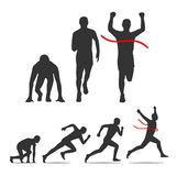 Running step icon. Runner from start to finish. Running step. Runner from start to finish. Front and Side view. Black vector illustration. For icon, poster Royalty Free Stock Images