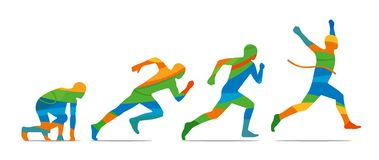 Running step. Runner from start to finish. Side view. Abstract colorful  illustration Royalty Free Stock Photos