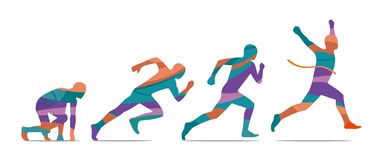 Running step. Runner from start to finish. Side view. Stock Images