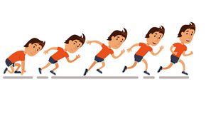 Running step sequence. Run men. Running step sequence. Step by step run storyboard of run. Run man animation. Running competition. Run training iillustration Royalty Free Stock Image