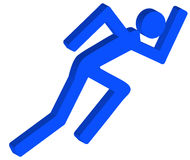 Running stick figure. 3D stick figure or person running in a hurry - vector Stock Photography