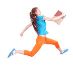 Running student girl with book Stock Images