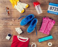 Running stuff on the floor Stock Image