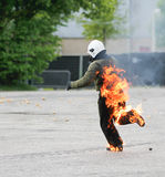 Running stuntman on fire Royalty Free Stock Image