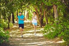 Running on sunny morning Stock Photo