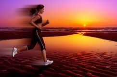 Running and sunset stock photos