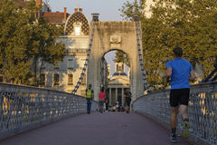 Running at sunset in Lyon Royalty Free Stock Photography
