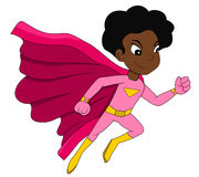 Running super hero girl cartoon Royalty Free Stock Photography