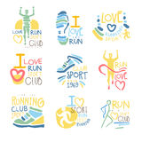 Running Supporters And Run Fans Club For People That Love Sport Set Of Colorful Promo Sign Design Templates Royalty Free Stock Image