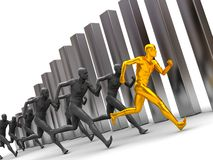 Running team. 3d illustration, group of men running forward with diagram bars at background Stock Photo