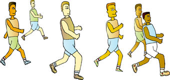 Running Team Colour. A team of men running in the same direction in this fully scalable, full colour illustration royalty free illustration