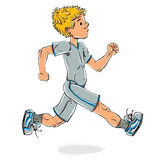 Running teen boy. Running teen boy vector cartoon, cartoon style illustration Stock Image