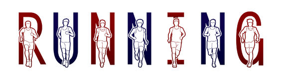 Running text font design, Marathon runners, Group of people running, Men running Royalty Free Stock Images