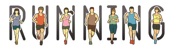 Running text font design, Marathon runners, Group of people running, Men and Women running Royalty Free Stock Images