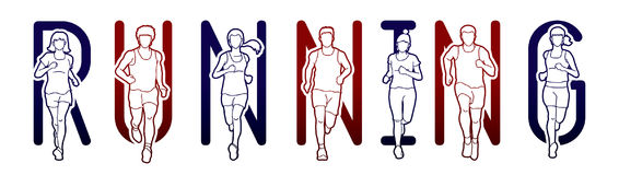 Running text font design, Marathon runners, Group of people running, Men and Women running. Graphic vector Royalty Free Stock Photos