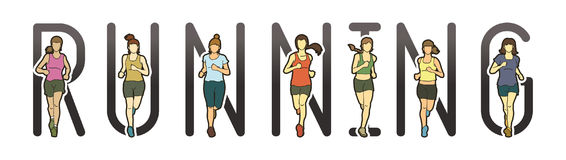 Running text font design, Marathon runners, Group of people running, Women running. Graphic vector Stock Images