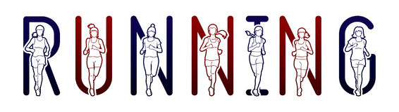 Running text font design, Marathon runners, Group of people running, Women running. Graphic vector Royalty Free Stock Image