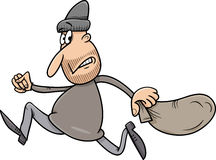 Running thief cartoon illustration Stock Image