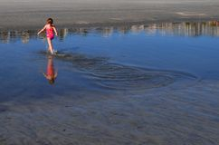 Running in Tide Pool Stock Photo