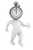 Running time concept. 3d person as stopwatch. On a white background Royalty Free Stock Photo