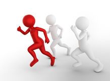 Running to be the first and win. Toon men compete, conceptual. Business success and rivals Royalty Free Stock Photo