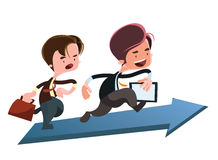Running to the top business  illustration cartoon character Royalty Free Stock Image