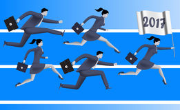 Running to year 2017 business concept. Confident business people run with flag with number 2017. Concept of team, new horizon, new opportunities and challenges Stock Photography