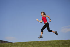 Running at the top of the hill Royalty Free Stock Photo