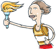 Running Torch. A cartoon runner holding a flaming torch Royalty Free Stock Photography