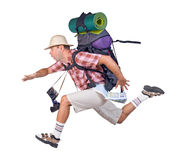 Running tourist. Running man with backpack on white background royalty free stock images