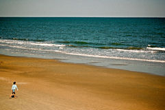 Running Toward the Beach-Presentation Background Royalty Free Stock Photos