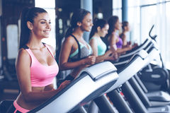 Running towards their fitness goals. Side view of young beautiful women looking away with smile while running on treadmill at gym Royalty Free Stock Images