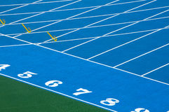 Running track. Closeup and cutout of a running track stock image