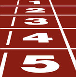 Running track. Perspective  of start and finish position on running track Stock Photos