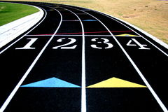 Running Track. Four lanes and the curve of a running track Stock Photos