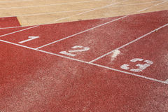 Running track. Lines with starting numbers Royalty Free Stock Image