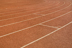 Running Track. Hard surface running track showing stoppers for relay race Royalty Free Stock Image