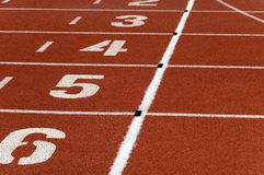 Running track. Marks on the surface of a running track Royalty Free Stock Photos